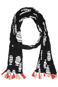 Black Vase Printed Crushed Scarf by Masaba