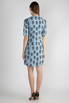 Sky Blue Printed Tie-Up Mini Dress by Masaba