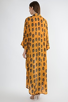 Yellow Printed Asymmetric Long Jacket by Masaba