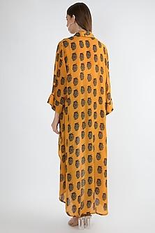 Yellow Printed Asymmetric Long Jacket by Masaba