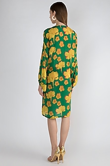 Emerald Green Printed Wrap Dress by Masaba