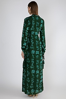 Emerald Green Printed Button-Up Dress by Masaba