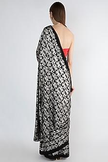 Black & Red Printed Saree Set by Masaba