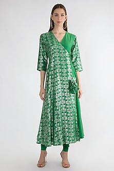 Emerald Green Printed Angrakha Kurta by Masaba