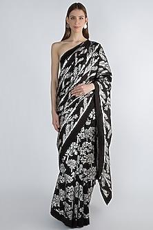 Black Printed Saree Set by Masaba