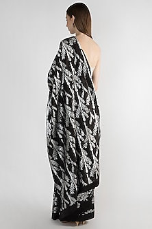 Black Printed Saree Set by Masaba