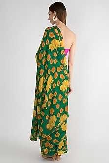 Emerald Green Digital Printed Saree by Masaba