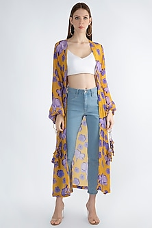 Yellow Digital Printed Jacket With Drawstrings by Masaba