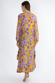 Yellow Digital Printed Jacket With Drawstrings by Masaba