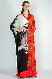 Black & Red Printed Kaftan With Sharara Pants by Masaba