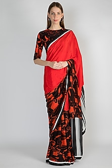Red Half & Half Printed Saree Set by Masaba
