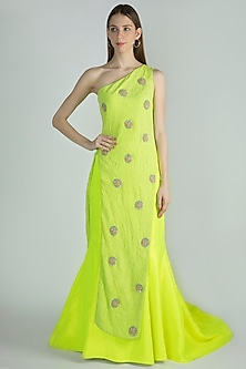 Parrot Green Embroidered Top With Lehenga Skirt by Masaba