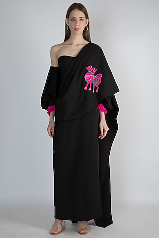 Black Printed Gown Saree by Masaba