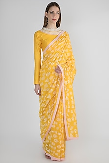 Yellow Embroidered Printed Saree Set by Masaba