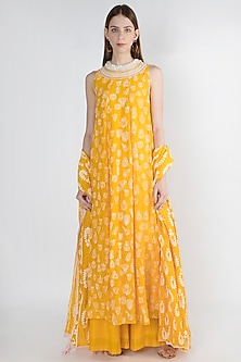 Yellow Embroidered Printed Anarkali Set by Masaba