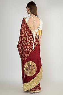 Maroon Embellishments Printed Saree Set by Masaba