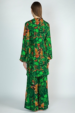Emerald Green Jungle Printed Tunic With Pants by Masaba
