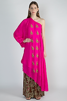 Pink Embellished Tunic With Brown Printed Palazzo Pants by Masaba