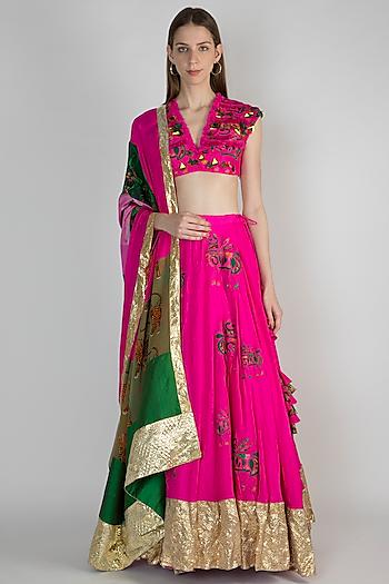 Pink Embroidered Lehenga Set by Masaba