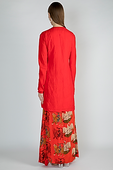 Red Embroidered Tunic With Printed Skirt by Masaba