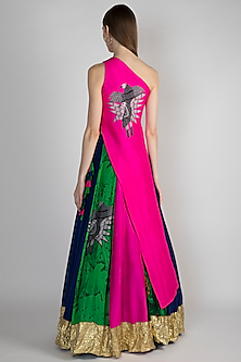 Pink One-Shoulder Top With Printed Lehenga Skirt by Masaba