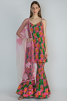 Pink Printed & Embroidered Sharara Set by Masaba