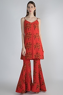 Red Digital Printed Tunic With Sharara Pants by Masaba