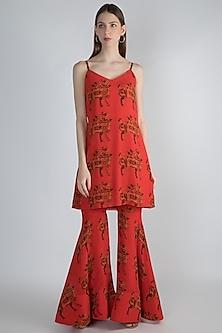Red Digital Printed Tunic With Sharara Pants by Masaba