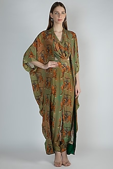Dark Beige & MInt Green Printed Cowl Top With Dhoti Pants & Cape by Masaba