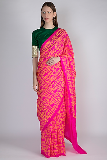 Pink Upvan Printed Saree Set by Masaba