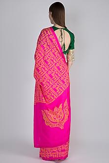 Pink Upvan Printed Saree Set by Masaba