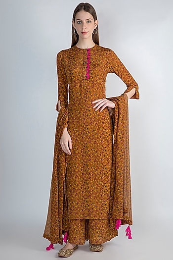Mustard Yellow Digital Printed Kurta Set by Masaba