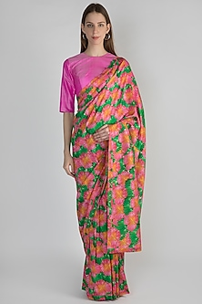 Pink Digital Printed Saree Set by Masaba