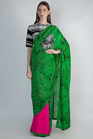 Green & Pink Digital Printed Saree Set by Masaba