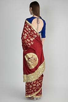 Maroon & Blue Gulshan Printed Saree Set by Masaba