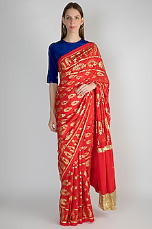 Red Printed Saree Set by Masaba