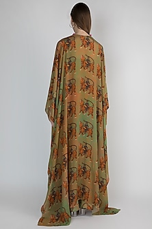 Dark Beige & Mint Green Printed Kaftan With Sharara Pants by Masaba
