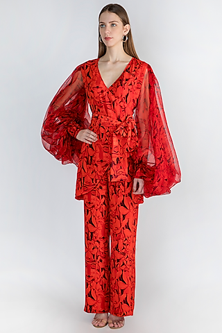 Red Printed Top With Pants by Masaba