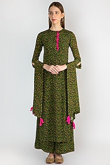 Emerald Green Digital Printed Kurta Set by Masaba