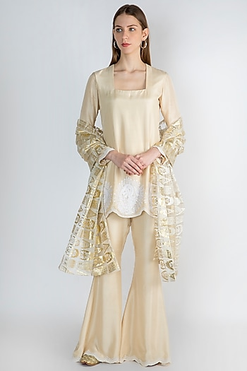 Ivory Embroidered Tunic Set by Masaba