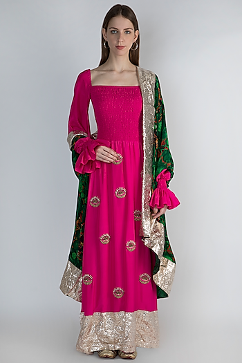 Pink Embroidered Kurta Set by Masaba
