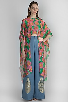 Pink & Green Printed Crop Top With Palazzo Pants & Bustier by Masaba