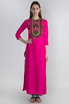 Pink Embroidered Tunic With Printed Salwar Pants by Masaba