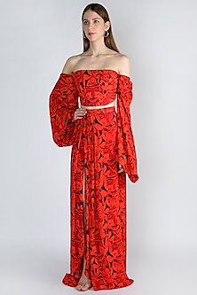 Red Digital Printed Top With Skirt by Masaba