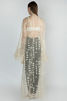 Ivory Printed Cape With Embellished Dhoti Pant & Bustier by Masaba