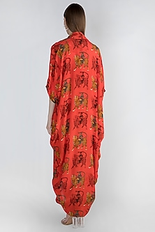 Red Printed Top With Dhoti Pants & Cape by Masaba