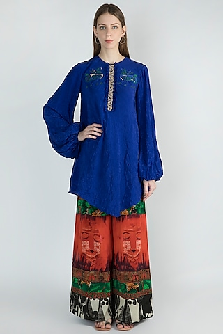 Blue Embroidered Kurta With Printed Pants by Masaba
