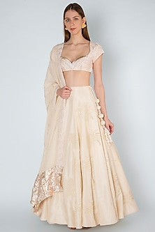Ivory Embroidered Lehenga Set by Masaba