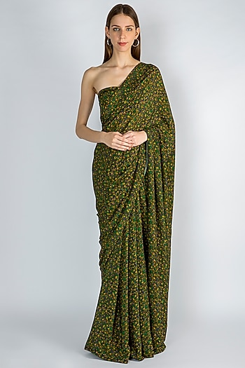 Emerald Green Digital Printed Saree Set by Masaba