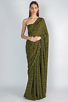 Emerald Green Digital Printed Saree Set by Masaba
